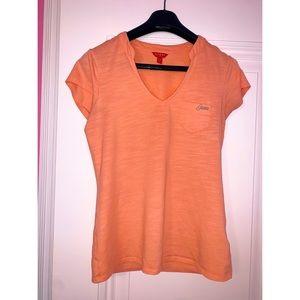 Guess Orange V-Neck Pocket T-Shirt Sz M